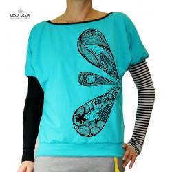 Majica deklice v kapljicah turkizna