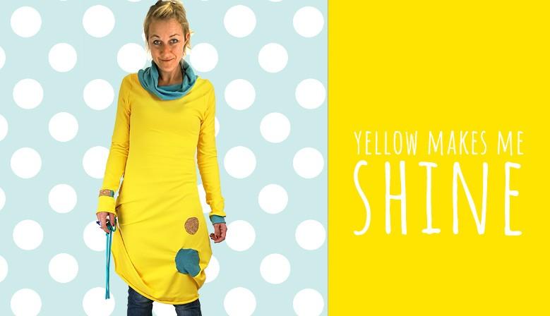 Obleka rumena pika