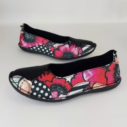Shoes Black - Poppy Flower