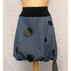 Jeans skirt black dots