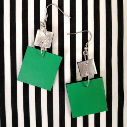 Earrings Square green