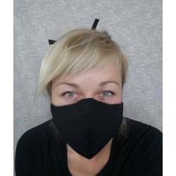 Bombažna protipljuvalna maska - črna