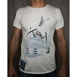 Moška majica LEGENDA Smučar bela