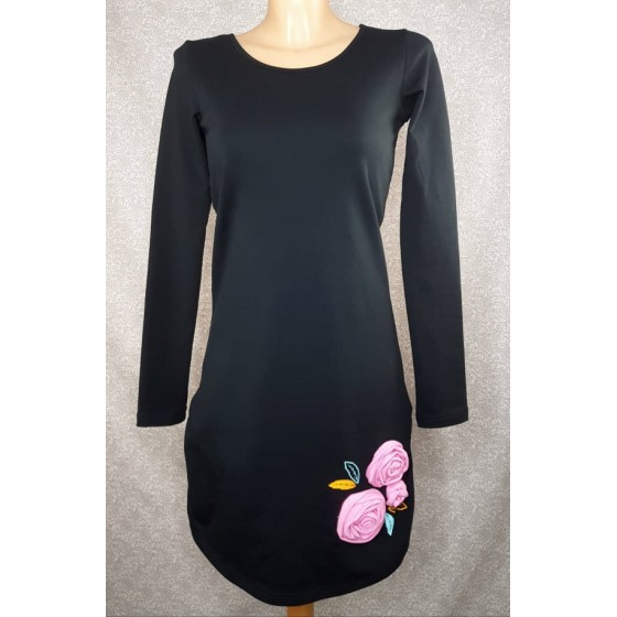 Black dress with pink Rose
