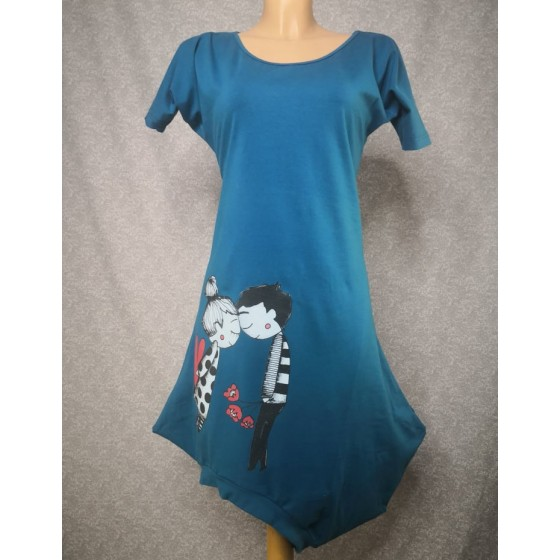 Asimetrična obleka Zaljubljena - petrol