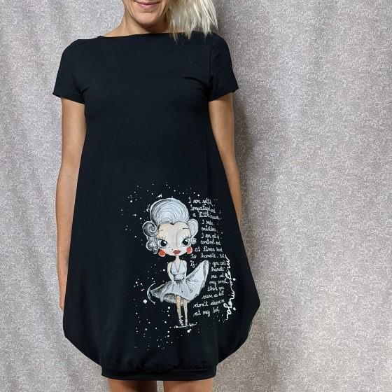 Obleka črna balončica