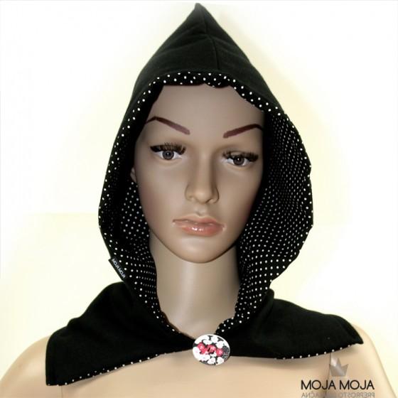 Obojestranska kapuca črna-pikice